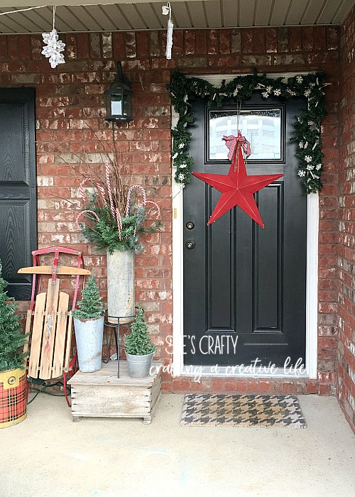 front door, what to hang on front door, porch, metal buckets