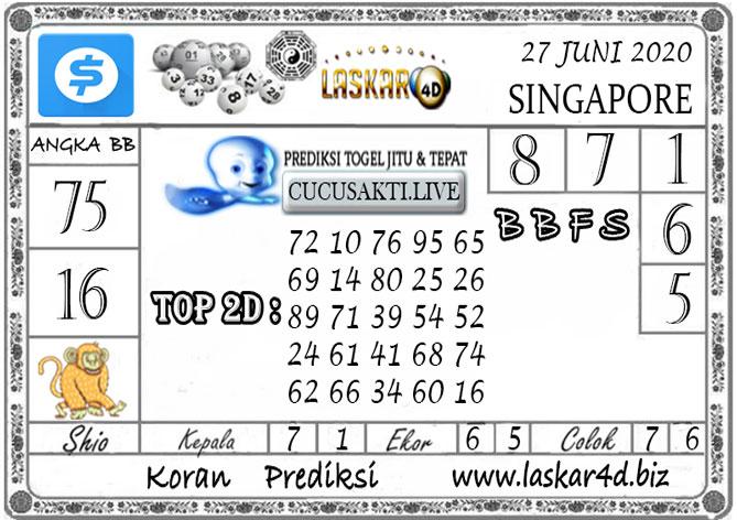Prediksi Togel SINGAPORE LASKAR4D 27 JUNI 2020