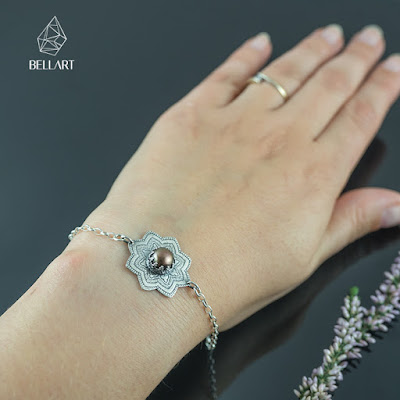 srebrna bransoletka mandala z perłą