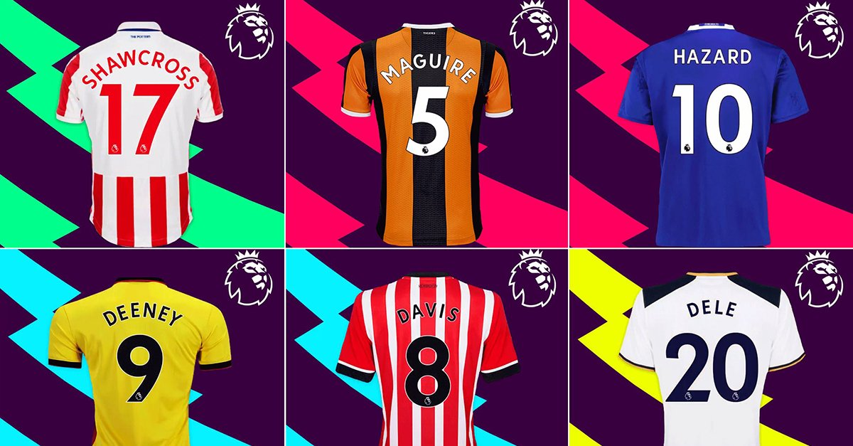 3d1b037dc Football teams shirt and kits fan  Font Premier League 2017-18
