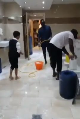 Liverpool star Sadio Mane pictured cleaning Mosque toilets
