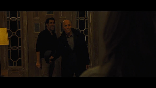 Javier Bardem makes the mistake of letting Parcher through the door. Don't you know that the man is just a figment of John Nash's imagination?