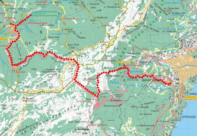 Карта маршрута Большой каньон, Ванна молодости, дорога Бахчисарай-Ялта