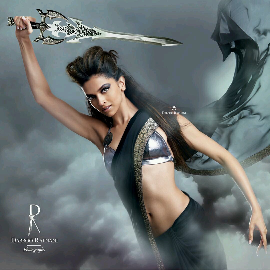Deepika Padukone as a Super Girl in Black Saree Silver Choli br Dabboo Ratnani