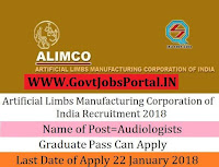 Artificial Limbs Manufacturing Corporation of India Recruitment 2018 – 36 Audiologists