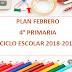 PLANEACIÓN FEBRERO 4° PRIMARIA CICLO ESCOLAR 2018-2019.