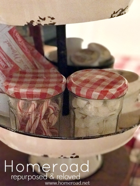 Recycled jars for candy canes and mini marshmallows