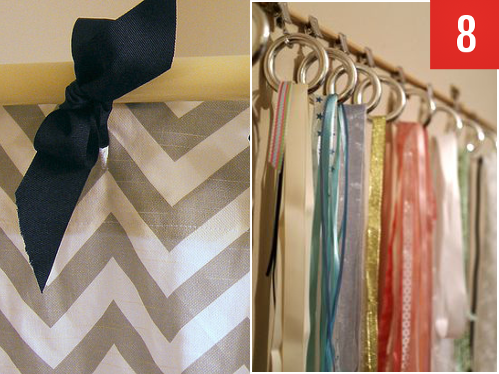 napkin rings and ribbons to pretty up your shower curtain