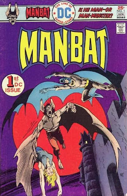 Man-Bat #1, Batman leaps off a castle at our hero, Jim Aparo cover
