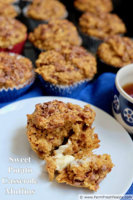 Sweet Potato Casserole muffins combine roasted sweet potatoes and cinnamon chips in a wholesome whole grain treat. These muffins would be terrific for a holiday breakfast or a quick sweet bread alongside a holiday dinner--plan ahead and bake an extra sweet potato to make them!