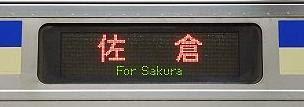 総武横須賀線 佐倉行き表示 E217系