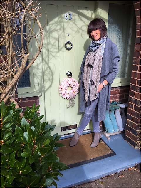 My Midlife Fashion, Zara draped wool zara belted coat, tassel scarf, marks and spencer longline shirt, zara grey skinny jeans, zara cowboy heeled ankle boots
