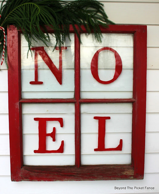 old window, porch decor, NOEL, Christmas sign, https://goo.gl/BcyJKv