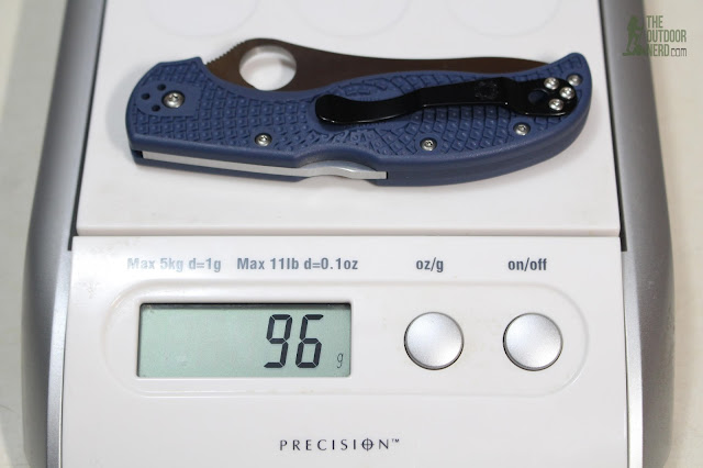Spyderco Blue ZDP-189 Stretch On Scale - Grams