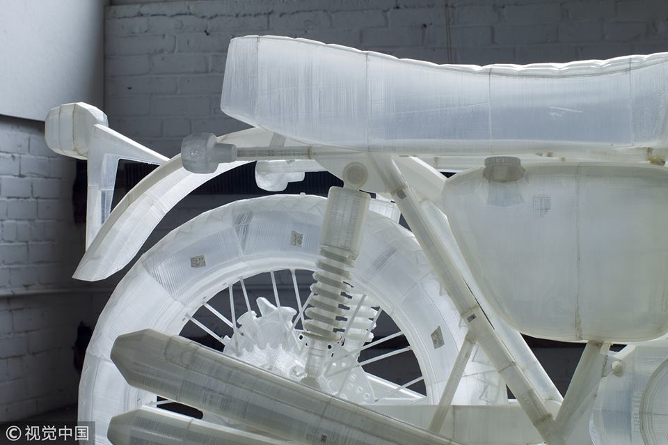 New York artist creates life-like motorcycle by 3D printing