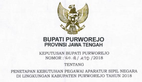 ditetapkan Berdasarkan Keputusan Bupati Purworejo Nomor  TERLENGKAP FORMASI CPNS KABUPATEN PURWOREJO TAHUN 2018