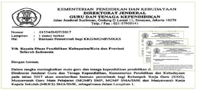 Download Surat Edaran Bantuan Pemerintah Untuk KKG/MGMP/MKKS Tahun 2017