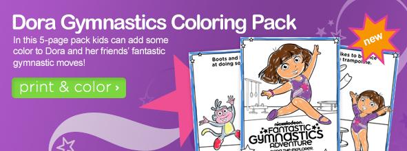 dora gymnastics coloring pages - mad family fun dora gymnastics coloring pack
