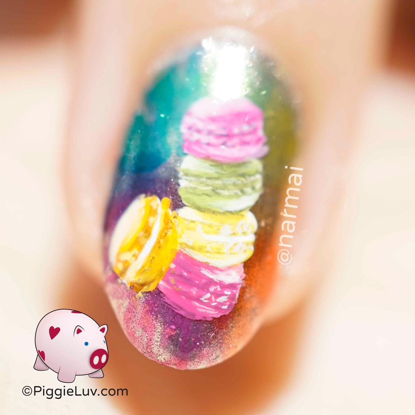 Piggieluv Rainbow Bubbles Nail Art: Rainbow Macarons Nail Art
