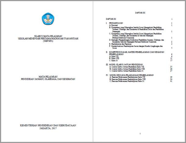Silabus RPP PJOK SMP MTs Kurikulum 2013 Kelas VII, VIII, IX