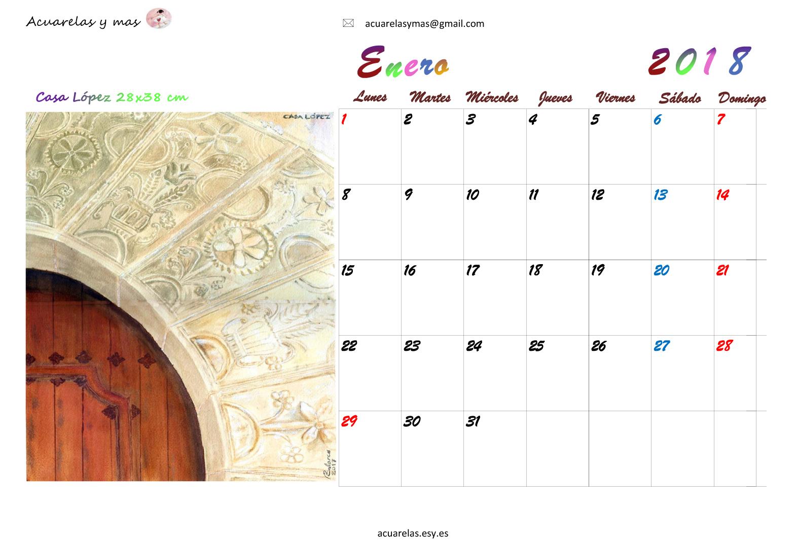 Abre Mi Calendario.Acuarelas Y Mas Enero En Mi Calendario 2018