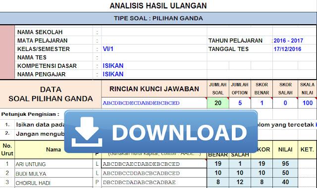 Aplikasi Koreksi dan Analisis Soal Pilihan Ganda Ulangan Harian, UTS, UAS Terbaru