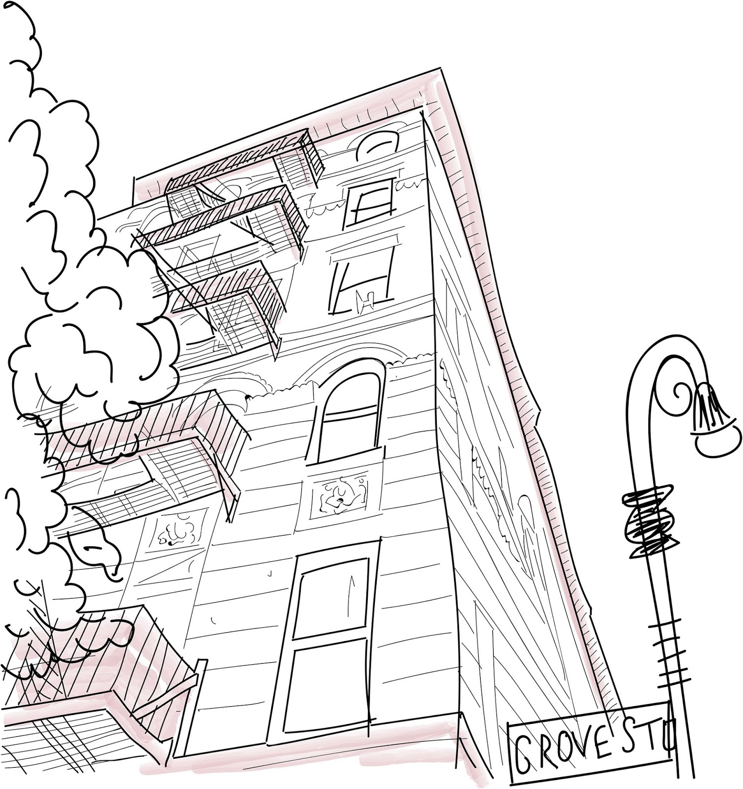 illustration of friends apartment, Monica's apartment grove street New York