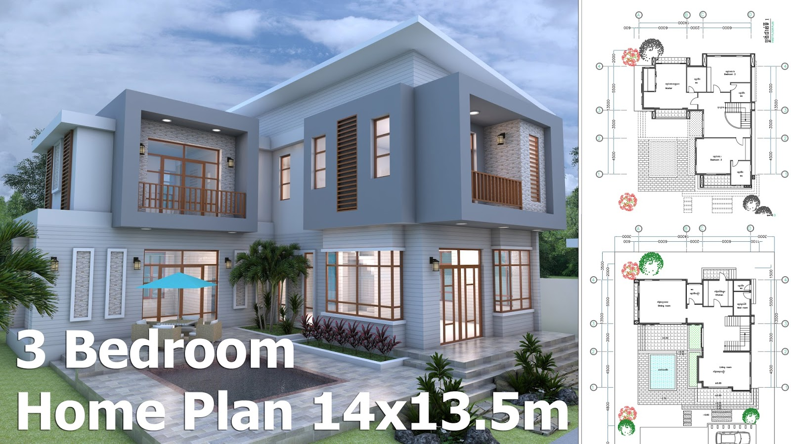 Marvelous SketchUp Modern Home Plan 14x13,5m