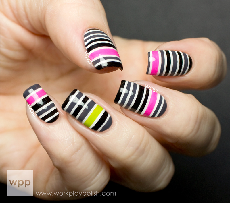 Striped mani with Zoya Snow White, Raven, Kelly, Tobie and Mitzi