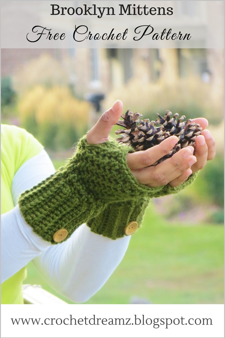 Brooklyn Fingerless Mitts or Wrist Warmers, Free Crochet Pattern ...