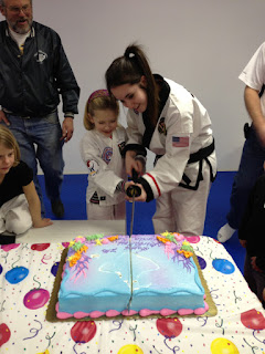 Martial arts girl doing a Taekwondo birthday party