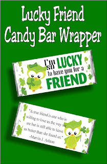 "Let your  Ministering sisters know how lucky you are to have them in your life with this fun St Patricks Day candy bar printable. With the saying ""I'm lucky to have you for a friend"" on the front and a beautiful saying about friends on the back, this is the perfect card and gift for any of your friends this March. #stpatricksday #visitingteaching #lds #candybarwrapper #diypartymomblog"