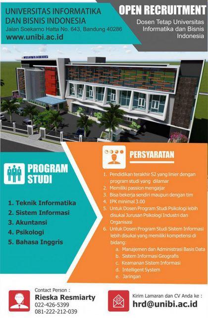 Lowongan Kerja Dosen Universitas Informatika dan Bisnis Indonesia (UNIBI) 2016