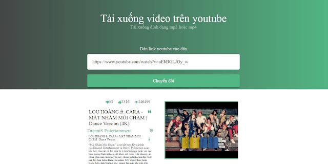 Template chuyển đổi video youtube thành mp3 và mp4