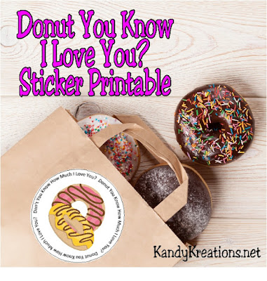 "Celebrate National Donut Day or any day of the week with yummy donuts and this free sticker printable.  You can tell all of your loves ""Donut You Know I Love You?"" in a sweet and yummy way!"