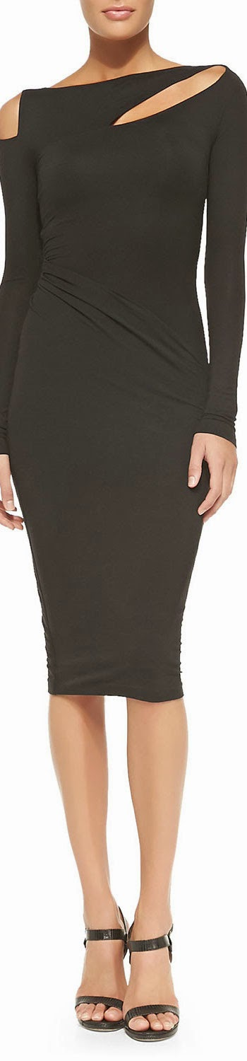 Donna Karan Cold-Shoulder Dress w/ Diagonal Draping