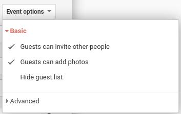 Create a new Event: Event options menu