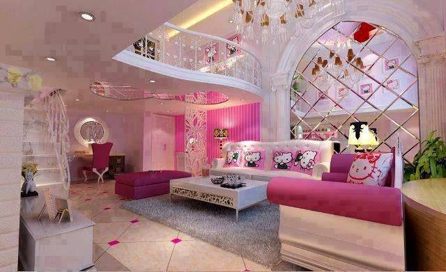 Feminine Living Room Design With Hello Kitty Themes