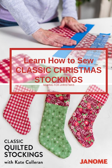 learn to sew classic quilted christmas stockings in holiday fabric with this online class