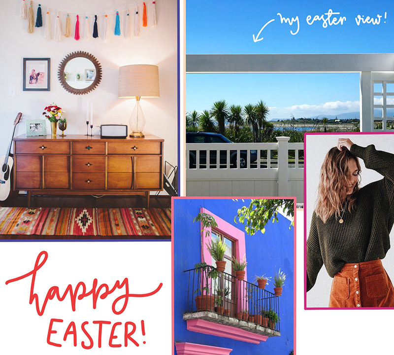 moodboard slash collage and a chat about Easter weekend recharging batteries and relaxing - kapiti coast nature new zealand pink and blue facade olive jumper rust skirt tassels home decor sideboard rug