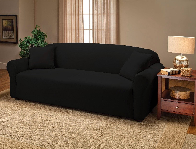 Black Bundle 74 Stretch Jersey Sofa Slipcover