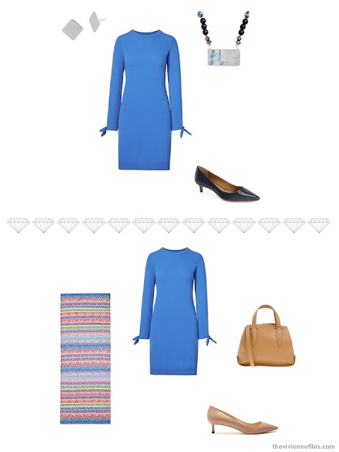 2 ways to accessorize a cornflower blue dress for business