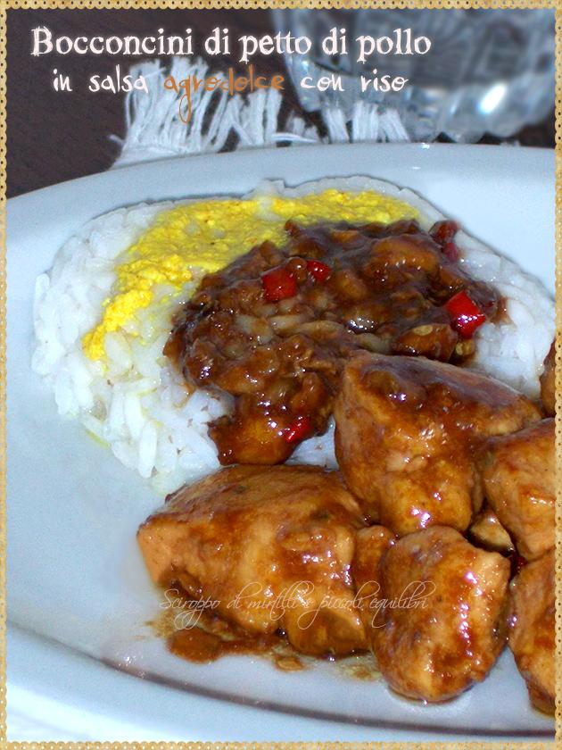 Bocconcini di petto di pollo in salsa agrodolce con riso