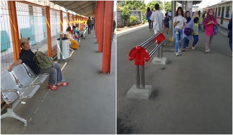Kursi Penumpang di Stasiun Commuter Line diubah dari duduk menjadi bersandar