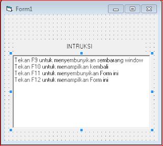 Cara Menyembunyikan Sembarang Window di Visual Basic 6.0, Cara Menyembunyikan Form Window di Visual Basic 6.0