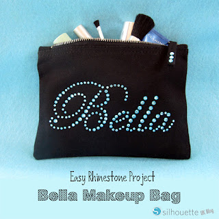 Bella Makeup Bag by Janet Packer #Silhouette #rhinestones #makeupbag #gifts