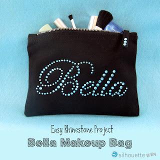 Bella Makeup Bag by Janet Packer #Silhouette #rhinestones #makeupbag #gifts