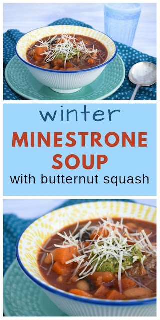 An easy winter minestrone soup inspired by Ina Garten (the Barefoot Contessa). The perfect filling starter or dinner. Suitable for vegetarian, dairy-free and vegan diets. #minestronesoup #winterminestrone #butternutsquashsoup #vegansoup #soupwithpesto #soupwithbeans #dairyfreesoup #soup #butternutsquash #spinach #carrots #cannellinibeans