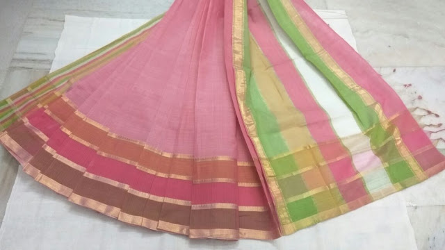 Pink color Mangalagiri Cotton saree