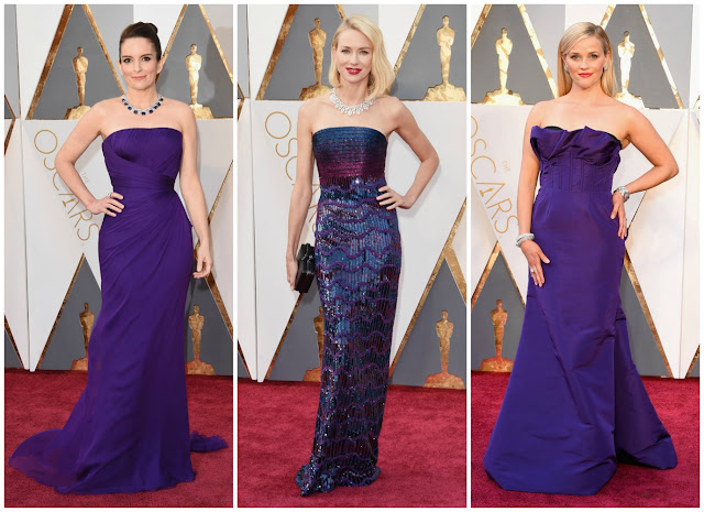 tina fey, naomi watts, reese witherspoon, purple trend, red carpet, 2016 oscars, academy awards